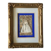 Touching French Framed Souvenir Image of First Communion,Embossed Clothing.Circa 1880-1900