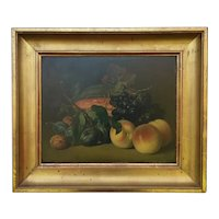 Pretty French Oil on Board ,Fruits Still Life .Late 19th Century.