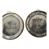 Rare Pair of Antique French Miniature Royalist Engravings; Families of Louis XVI and Louis XVIII in Profile.