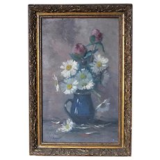 French Oil Flowers Bouquet Signed Theodore Balké Circa 1920-1930