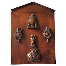 Rare Antique French 19th Century Walnut Wood Reliquary Frame, Box.