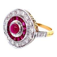 Vintage Cabochon Ruby & Diamond Ring