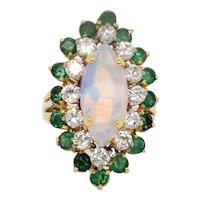 Cabochon Opal, Diamonds and Emerald Ring