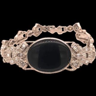 Platinum and Onyx Bracelet