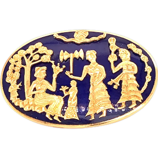 Blue Enamel Pin with 18k Gold, Depicting a Religious Scene (15th century BC).