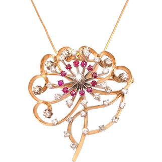 14k Yellow Gold Ruby and Diamond Pin Pendant Necklace