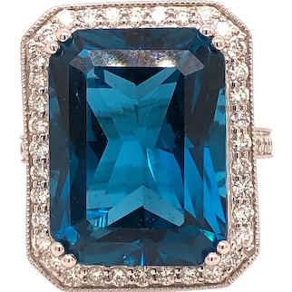 Blue Topaz Cocktail Ring With 1.44 Carat Diamonds