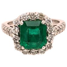 Fine Emerald Ring With a Carat Weight of 2.61 and Surrounded by .78 Carat Diamonds