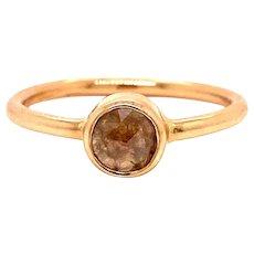 14k Light Brown Raw Diamond Crystal Ring .44 Carats