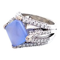 Blue Chalcedony and Diamond Ring in 14k White Gold