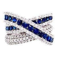 Sapphire and Diamond Criss-Cross Ring