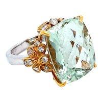 18k Green Amethyst and Diamond Ring