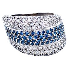 Blue and White Diamond Band Ring