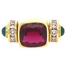 Rubellite, Diamond and Emerald Ring