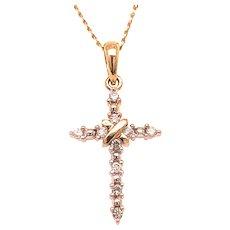 Delicate 14k Cross With Diamonds