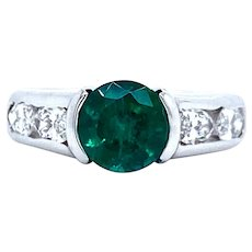 Emerald And Diamond Ring Set In 14k White Gold
