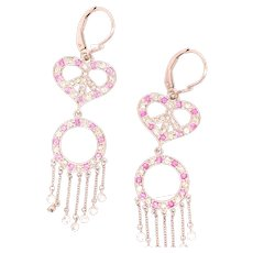 18k Peace Sign Diamond And Pink Sapphire Earrings
