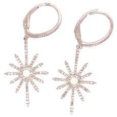 Snowflake 14k Diamond Earrings