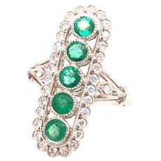 Emerald And Diamond Fashion Ring