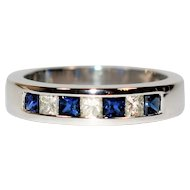 Timeless .56tcw Blue Sapphire & Diamond 14kt White Gold Band