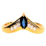 Must Have .50tcw Blue Sapphire & Diamond 14kt Yellow Gold Ring