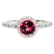 Mesmerizing Halo 1.45tcw Pink Sapphire & Diamond 14kt White Gold Ring