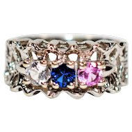 Mothers Love .51tcw Pink Topaz, Blue & White Sapphire 10kt White Gold Ring