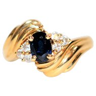 Fine Detailed 1.18tcw Blue Sapphire & Diamond 14kt Yellow Gold Ring