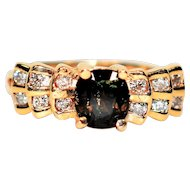 Regal 1.12tcw Color Changing Untreated Sapphire & Diamond 14kt Yellow Gold Ring