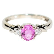 Vivid Beauty .79tcw Untreated Ceylon Pink Sapphire & Diamond 14kt White Gold Ring