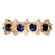 Unfathomable 1tcw Blue Sapphire & Diamond 14kt Yellow Gold Ring