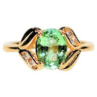 Radiant 2.13tcw Untreated Paraiba Tourmaline & Diamond 10kt Yellow Gold Ring