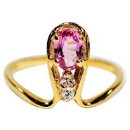 Artistic .63tcw Certified Padparadscha Sapphire & Diamond 14kt Yellow Gold Ring