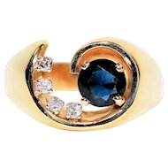 Horseshoe Swirl 1.37tcw Blue Sapphire & Diamond 14kt Yellow Gold Ring