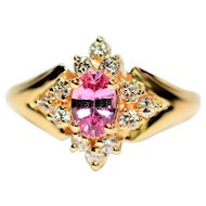 Top Color .85tcw Certified Padparadscha Sapphire & Diamond 14kt Yellow Gold Ring
