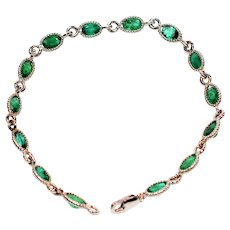 Glowing Saturation 10.50tcw Colombian Emerald 14kt White Gold Bracelet