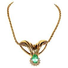 Rare LeVian 2.45tcw Colombian Emerald & Diamond 14kt Yellow Gold Pendant Necklace