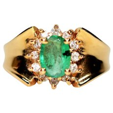Flattering 1.32tcw Colombian Emerald & Diamond 14kt Yellow Gold Ring