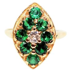 Vibrant Cluster 1.53tcw Colombian Emerald & Diamond 14kt Yellow Gold Ring