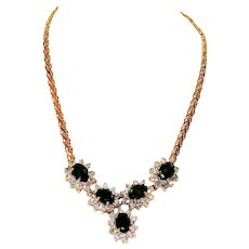 Museum Piece 6tcw Colombian Emerald & Diamond 14kt Yellow Gold Necklace