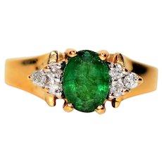 Eye Catching 1.27tcw Colombian Emerald & Diamond 14kt Yellow Gold Ring