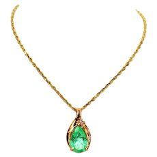 Neon WOW 1.39tcw Colombian Emerald & Diamond 14kt Yellow Gold Pendant Necklace