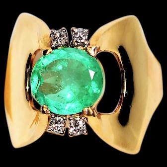 Astonishing 1.65tcw Colombian Emerald & Diamond 14kt Yellow Gold Ring