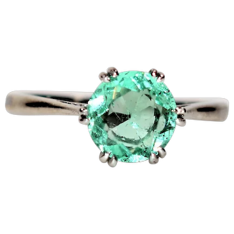 Brilliant 1.15ct Colombian Emerald Platinum Ring