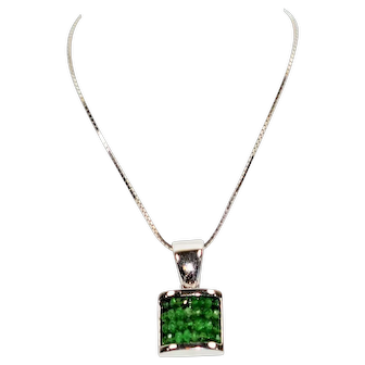 Exceptionally Rare 2tcw Colombian Emerald 14kt White Gold Pendant Necklace