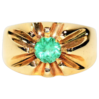Sizzling Hot 1.50ct Colombian Emerald 10kt Yellow Gold Ring