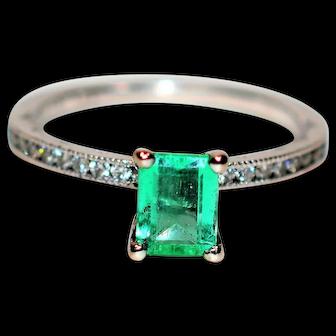 Exotic Tacori 1.10tcw Colombian Emerald & Diamond 18kt White Gold Ring