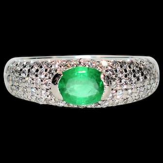 Marvelous 1tcw Colombian Emerald & Diamond Platinum Ring