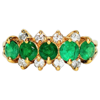 Vivid Cluster 1.41tcw Colombian Emerald & Diamond 18kt Yellow Gold Ring