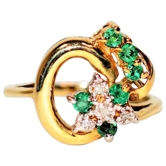 Celebrity Style .21tcw Colombian Emerald & Diamond 10kt Yellow Gold Ring
